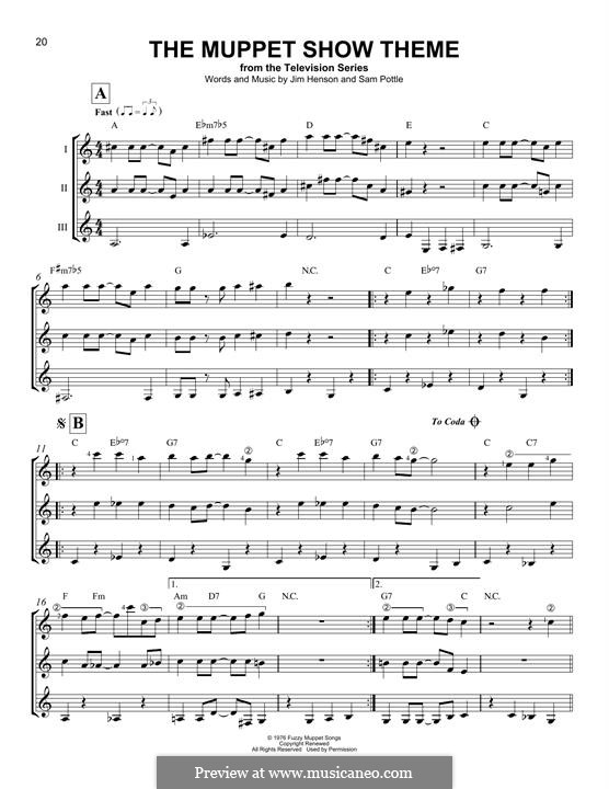 The Muppet Show Theme (Jim Henson): Für Gitarre by Sam Pottle