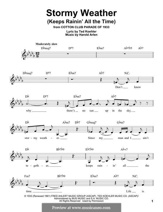 Stormy Weather (Lena Horne): Melodische Linie by Harold Arlen