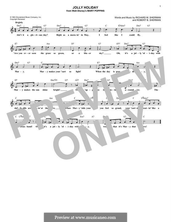 Jolly Holiday: Melodische Linie by Anthony Drewe, George Stiles, Richard M. Sherman, Robert B. Sherman