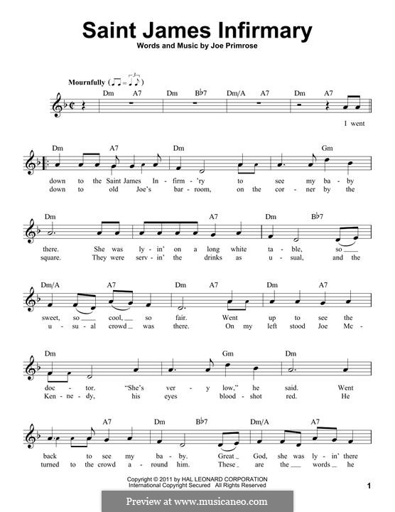 Saint James Infirmary: Melodische Linie by Joe Primrose