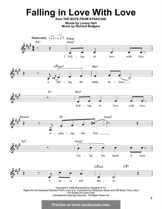 Falling in Love with Love: Melodische Linie by Richard Rodgers
