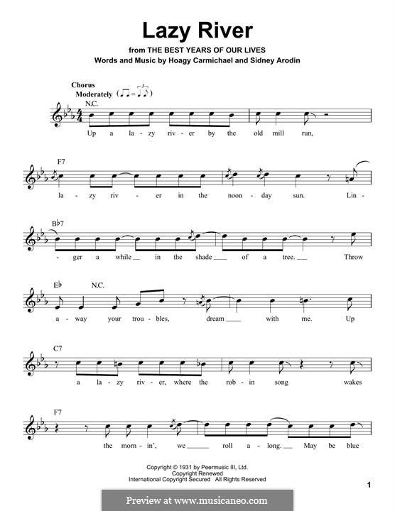 Lazy River (Bobby Darin): Melodische Linie by Hoagy Carmichael, Sidney Arodin