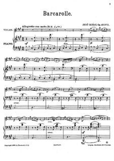 Zehn Stücke für Violine und Klavier, Op.49: Nr.5 Barkarolle by Jenö Hubay