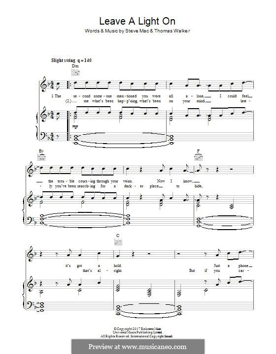 Leave a Light On: Für Stimme und Klavier (oder Gitarre) by Steve Mac, Tommy Walker
