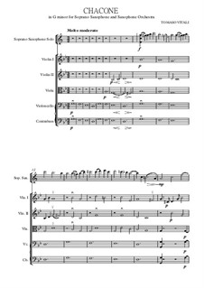 Chaconne in g-Moll: For solo saxophone soprano with strings (orchestra) by Tomaso Vitali