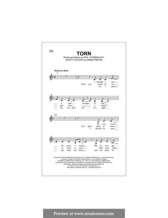 Torn (Natalie Imbruglia): Melodische Linie by Anne Preven, Phil Thornalley, Scott Cutler