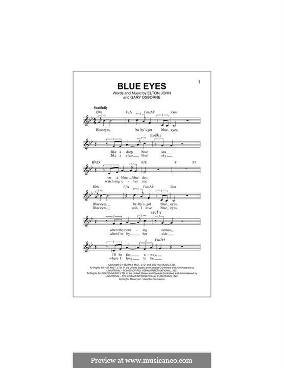 Blue Eyes: Melodische Linie by Elton John, Gary Osborne