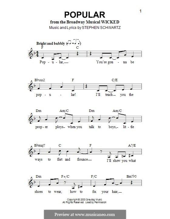 Popular: Melodische Linie by Stephen Schwartz