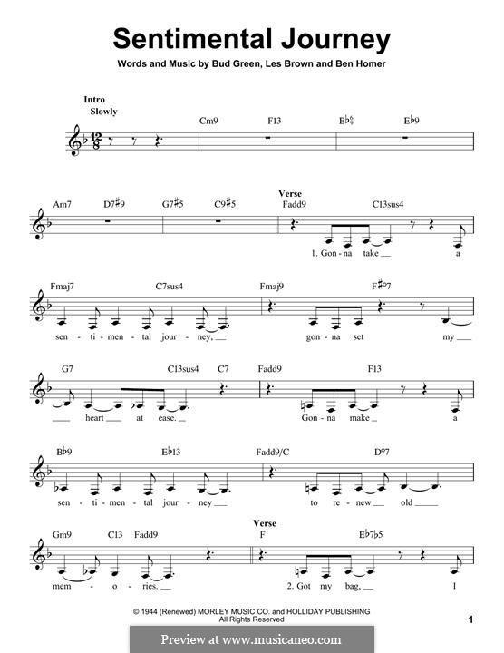 Sentimental Journey: Melodische Linie by Bud Green, Benjamin Homer, Lew Brown