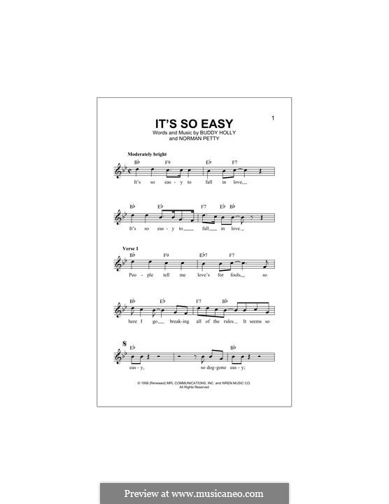 It's So Easy: Melodische Linie by Buddy Holly, Norman Petty