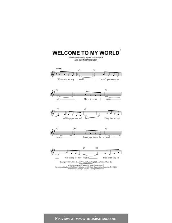 Welcome To My World (Jim Reeves): Melodische Linie by Johnny Hathcock, Ray Winkler