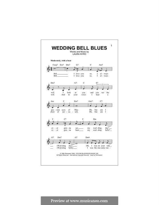 Wedding Bell Blues (The Fifth Dimension): Melodische Linie by Laura Nyro