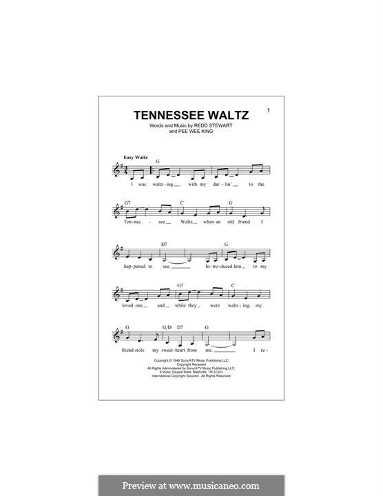 Tennessee Waltz (Patty Page): Melodische Linie by Pee Wee King, Redd Stewart