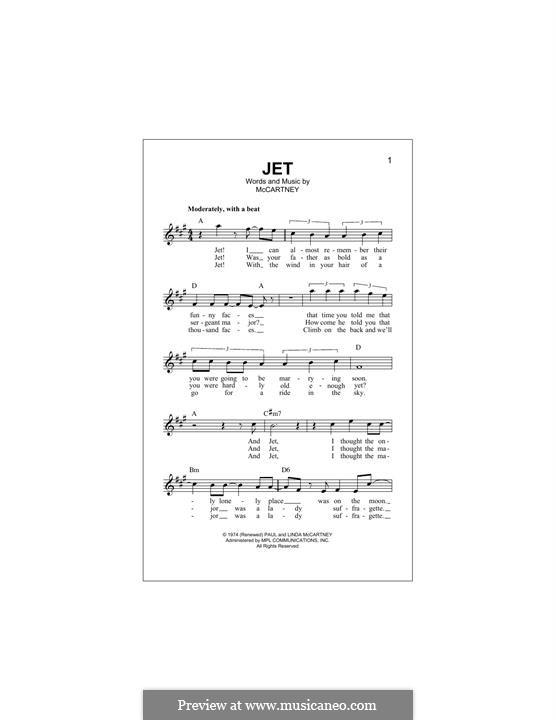 Jet (Wings): Melodische Linie by Linda McCartney, Paul McCartney