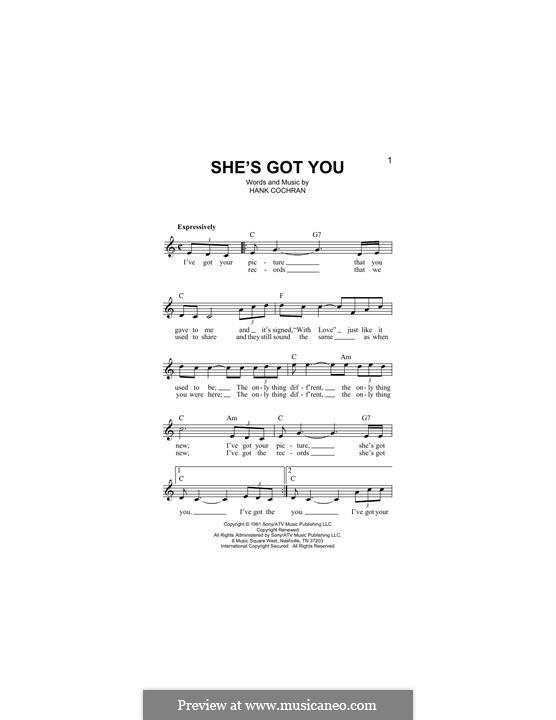 She's Got You (Patsy Cline): Melodische Linie by Hank Cochran