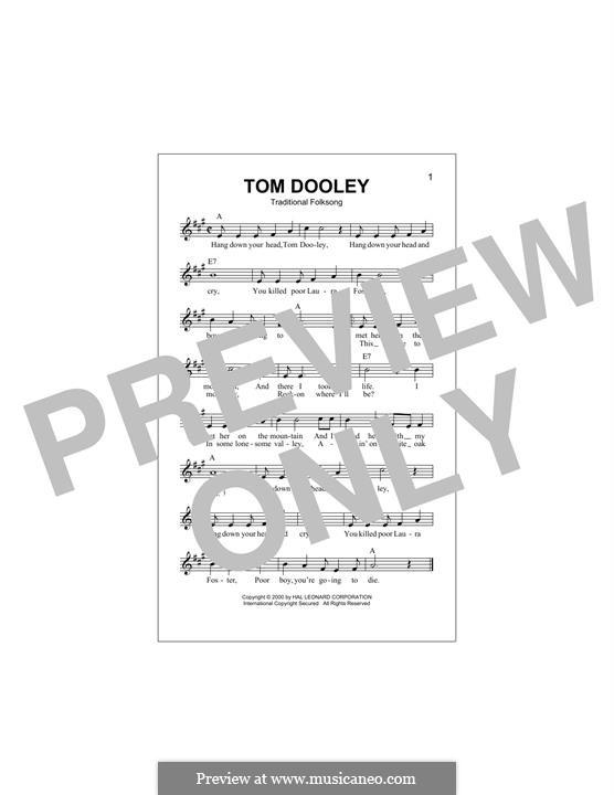 Tom Dooley: Melodische Linie by folklore