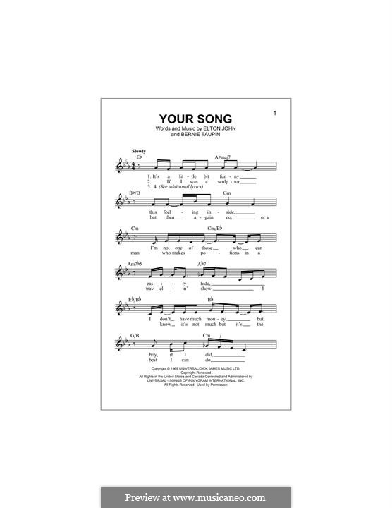 Your Song: Melodische Linie by Elton John