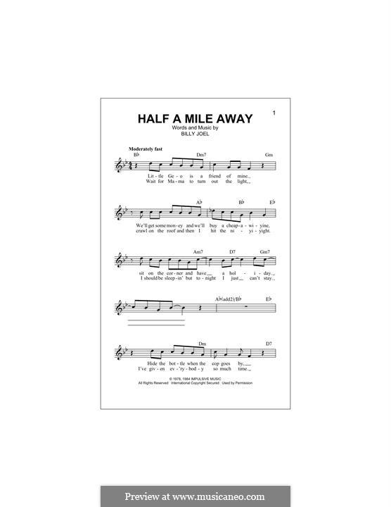 Half a Mile Away: Melodische Linie by Billy Joel