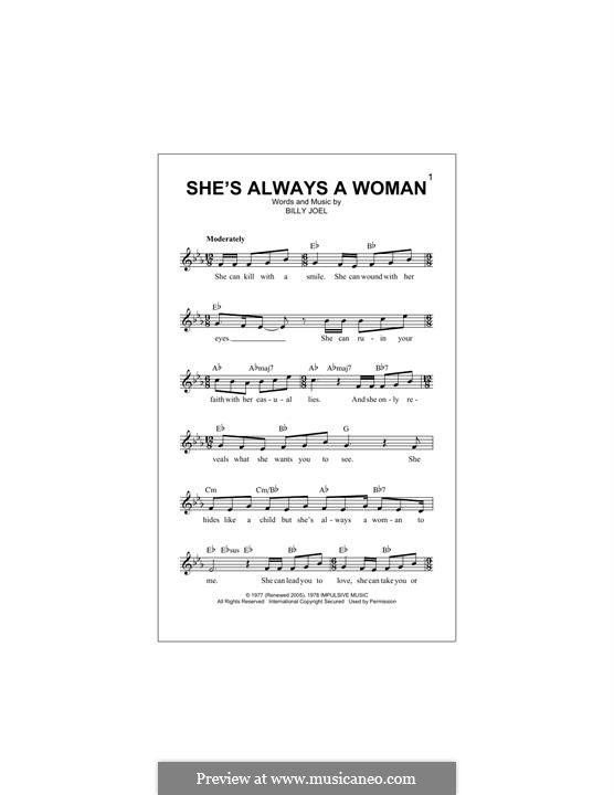 She's Always a Woman: Text und Akkorde by Billy Joel
