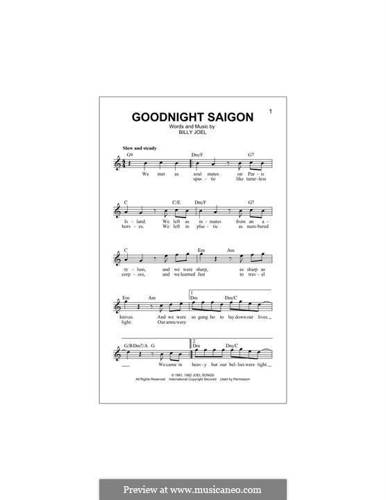 Goodnight Saigon: Melodische Linie by Billy Joel