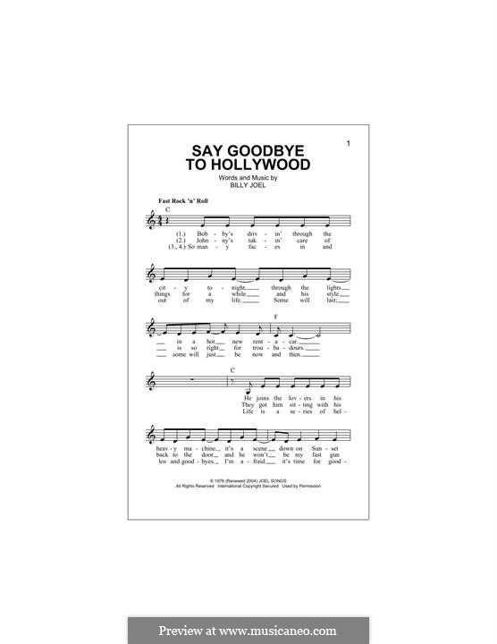 Say Goodbye to Hollywood: Melodische Linie by Billy Joel