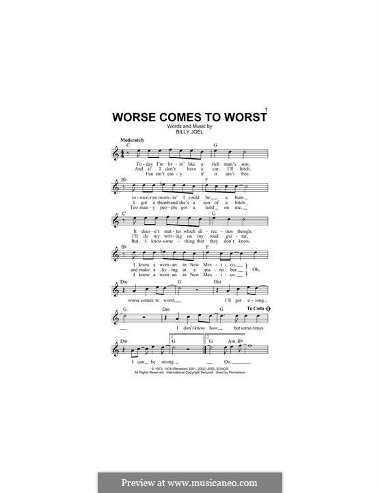 Worse Comes to Worst: Melodische Linie by Billy Joel