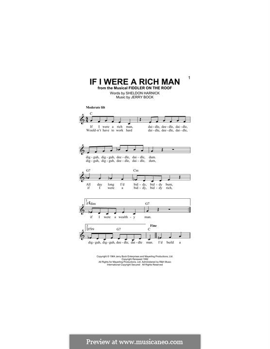 If I Were a Rich Man (from The Fiddler on the Roof): Melodische Linie by Jerry Bock