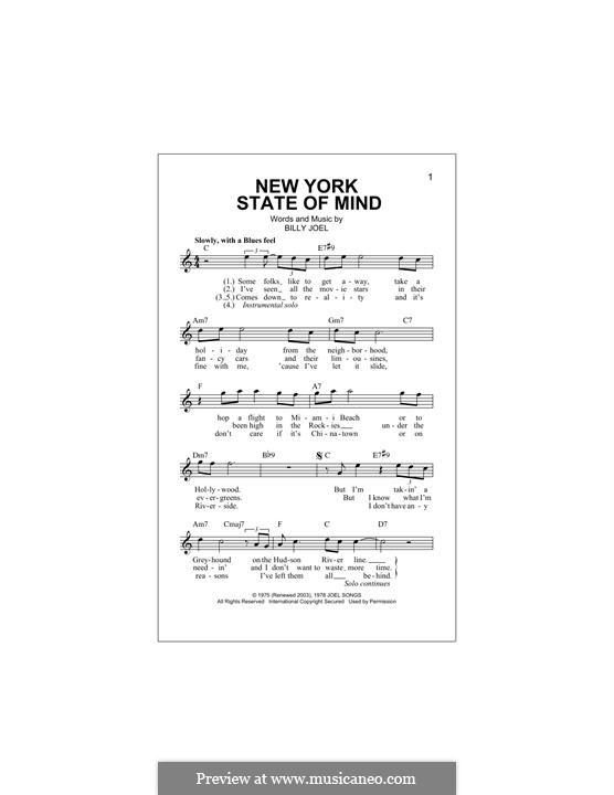 New York State of Mind: Melodische Linie by Billy Joel