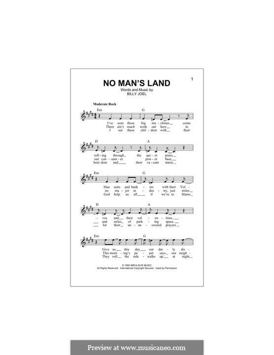 No Man's Land: Melodische Linie by Billy Joel