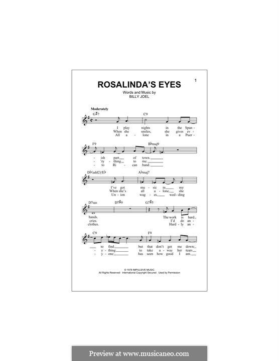 Rosalinda's Eyes: Melodische Linie by Billy Joel