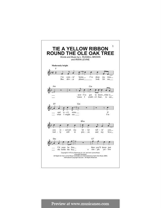 Tie a Yellow Ribbon Round the Ole Oak Tree (Tony Orlando): Melodische Linie by Irwin Levine, L. Russell Brown