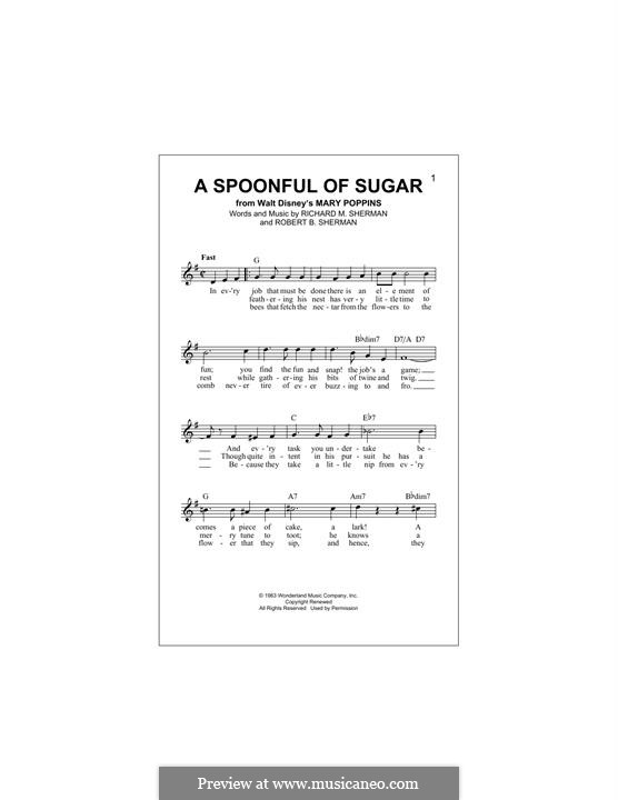 A Spoonful of Sugar: Melody line by Richard M. Sherman, Robert B. Sherman