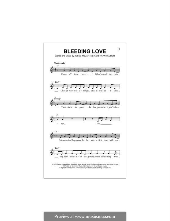 Bleeding Love (Leona Lewis): Melodische Linie by Jesse McCartney, Ryan B Tedder