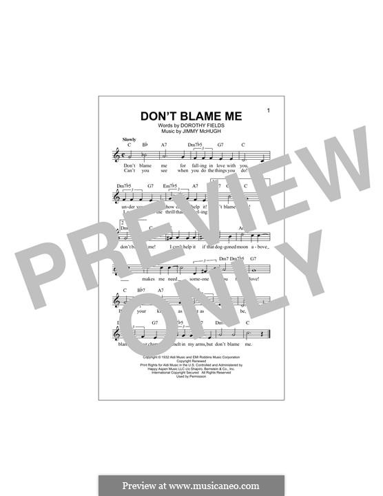 Don't Blame Me: Melodische Linie by Jimmy McHugh