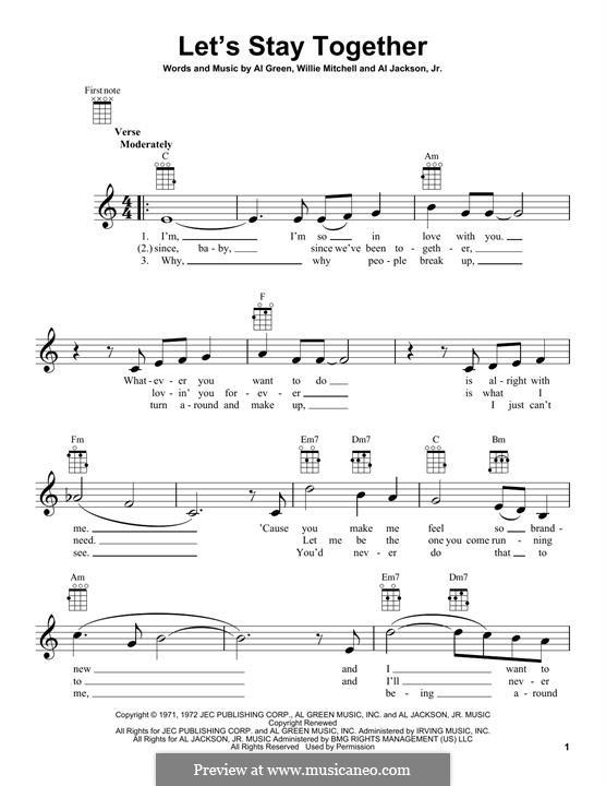 Let's Stay Together: Für Ukulele by Willie Mitchell, Al Jackson Jr.