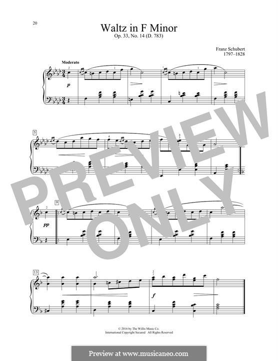 Sechzehn deutsche Tänze und zwei Ecossaises, D.783 Op.33: Waltz No.14 by Franz Schubert