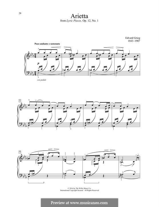 Lyrische Stücke, Op.12: No.1 Arietta by Edvard Grieg