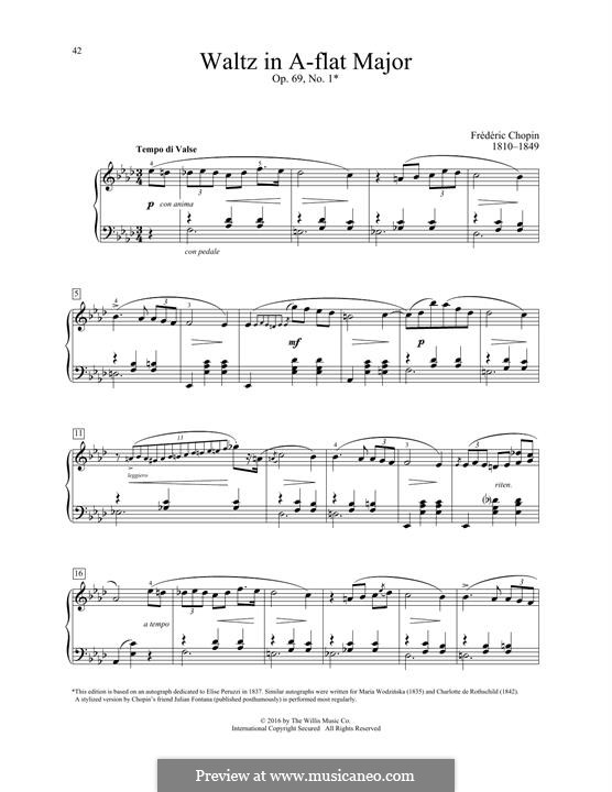 Walzer, Op. posth.69: No.1 in A Flat Major by Frédéric Chopin