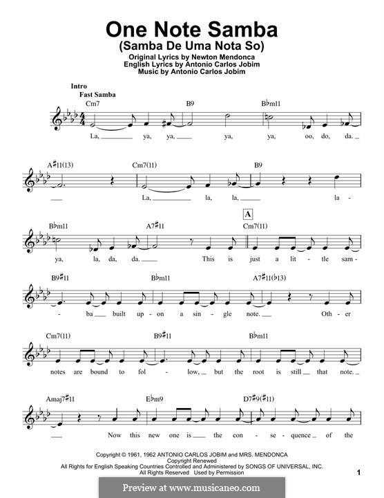 One Note Samba (Samba De Uma Nota): Melodische Linie by Antonio Carlos Jobim