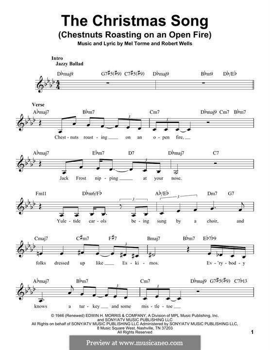 The Christmas Song (Chestnuts Roasting on an Open Fire): Melodische Linie by Mel Tormé, Robert Wells