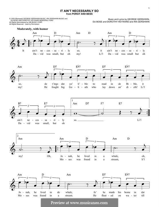 It ain't Necessarily So: Melodische Linie by George Gershwin