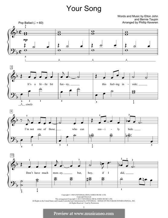 Your Song: Für Klavier, leicht by Elton John