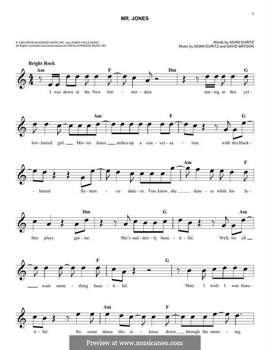 Mr. Jones (Counting Crows): Melodische Linie by Adam F. Duritz, David Bryson