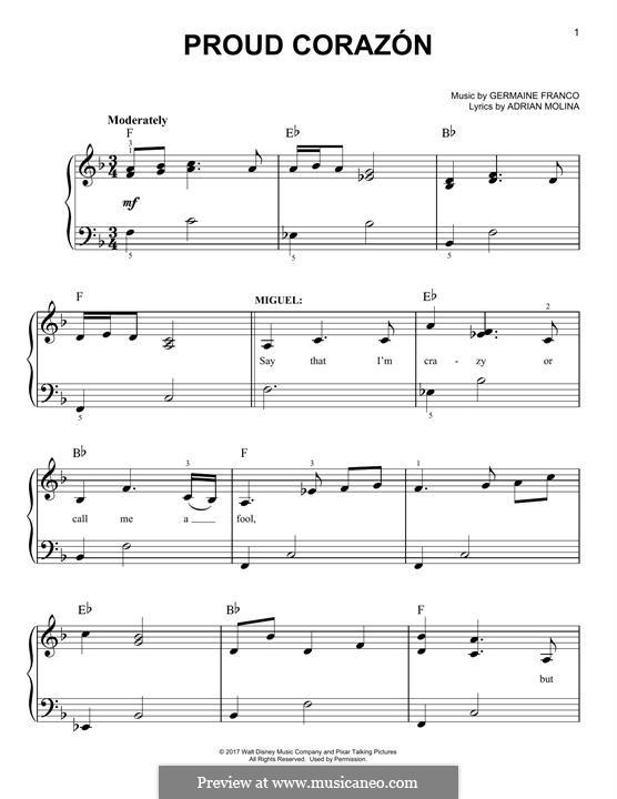 Proud Corazon (from 'Coco'): Für Klavier by Germaine Franco