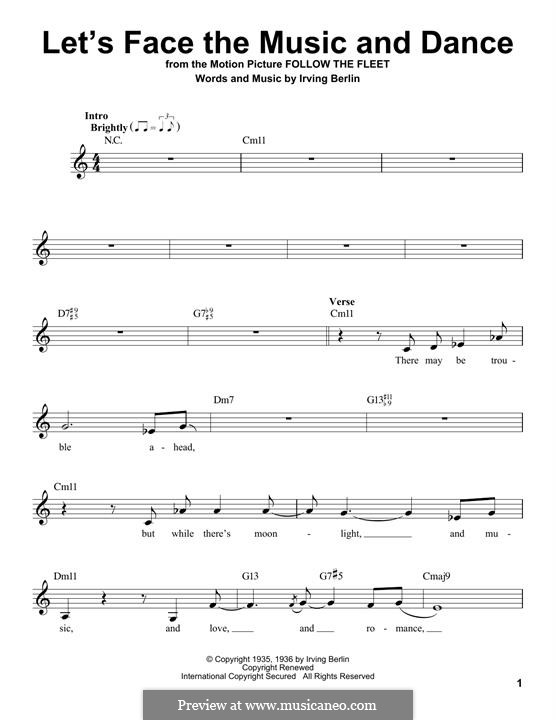 Let's Face the Music and Dance: Melodische Linie by Irving Berlin