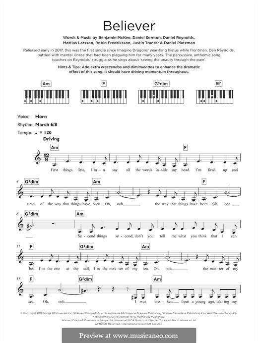 Believer (Imagine Dragons): Für Keyboard by Benjamin McKee, Daniel Reynolds, Daniel Sermon, Daniel Platzman