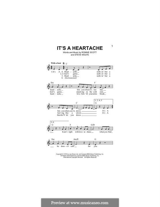 It's a Heartache (Bonnie Tyler): Melodische Linie by Ronnie Scott, Steve Wolfe
