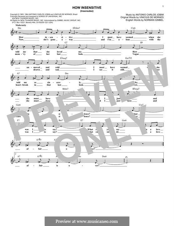 How Insensitive (Insensatez): Melodische Linie by Antonio Carlos Jobim
