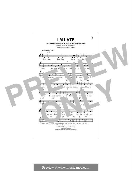 I'm Late: Melodische Linie by Sammy Fain
