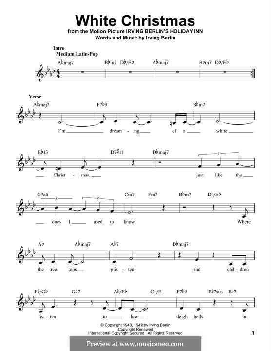 White Christmas: Melodische Linie by Irving Berlin